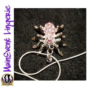 Silver Pink Crystal Spider Necklace